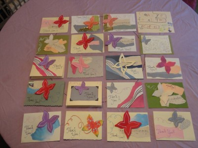 From shalavee.com, butterfly thank yous for the baby shower