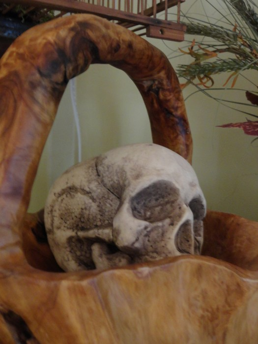 skull in wood basket