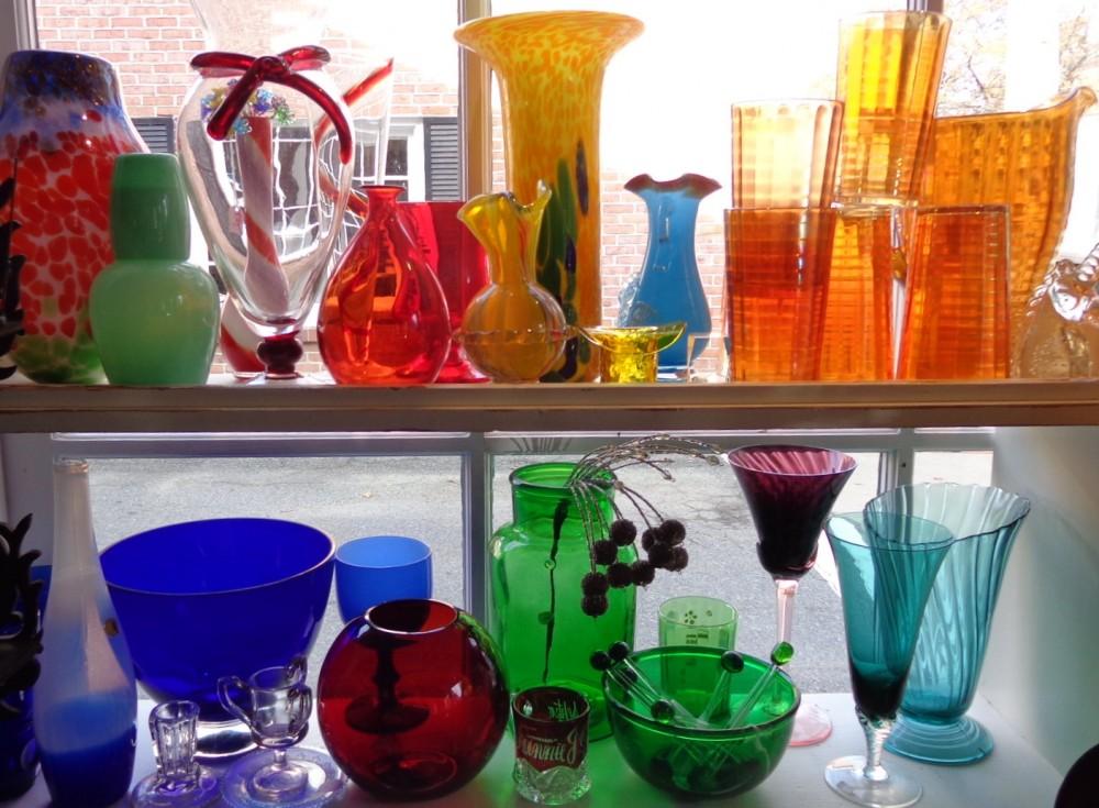 Colored glassware at Moonvine on Shalavee.com