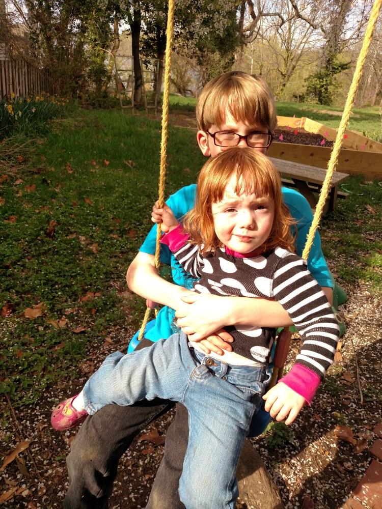 Eamon and Fiona on the swing on Shalavee.com