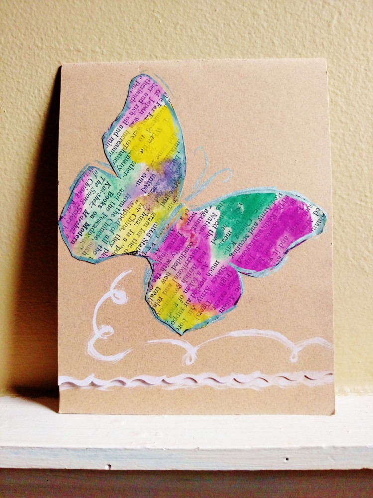Watercolor encyclopedia Butterfly on kraft card on Shalavee.com