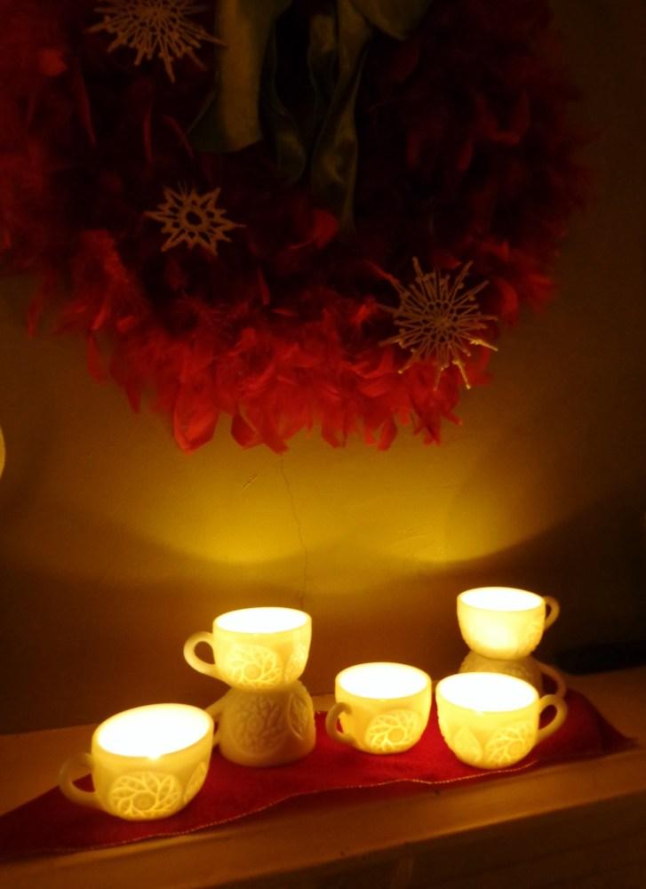 feather wreath and teacups on Shalavee.com