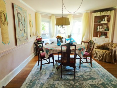 My remodeled pink dining room on Shalavee.com
