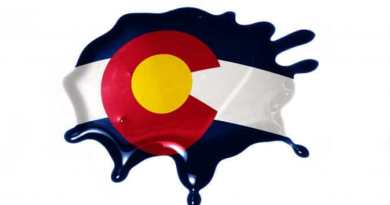 blot with colorado state flag on the white background.3D illustration