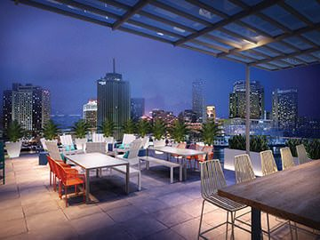 Canal Rendering Penthouse Bar View