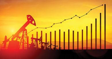 3d illustration of oil pump jacks and financial analytics charts and bars on sunset sky background. Concept of growing oil prices - bigstock--146027471