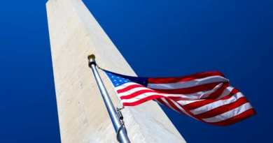 Washington Monument with flapping american flag, Washington DC