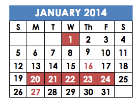 MISSING: Finals week does not appear on the Shalhevet calendar for next January.  The red days Jan. 20 - 24 are Winter Break, and Jan. 16 is Tu B'Shvat.