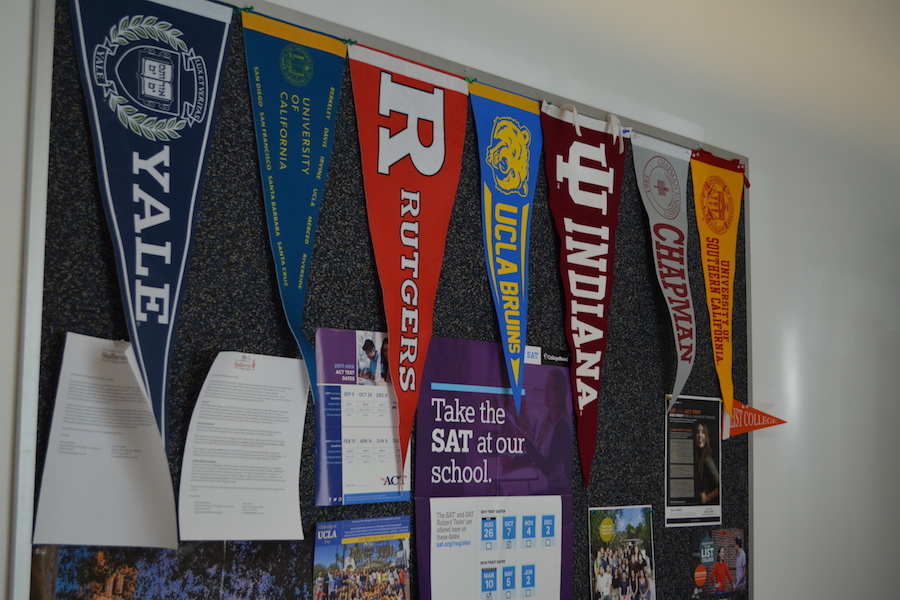 DISPERSION College Banners Hang Outside Counselor Lisa Gruenbaums Office Representing The Diversity In