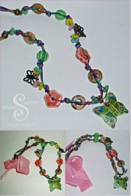 butterfly bead necklace collage
