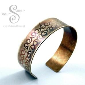 Brass Cuff: Decorative Swirl Pattern