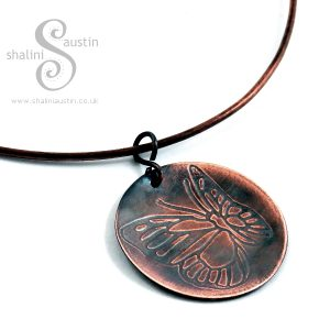 'Flutterby' Embossed Copper Pendant on Torc Necklace