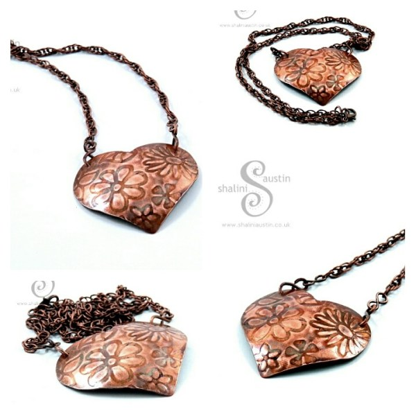 Copper Hearts and Flowers range of Pendants at Things British Greenwich