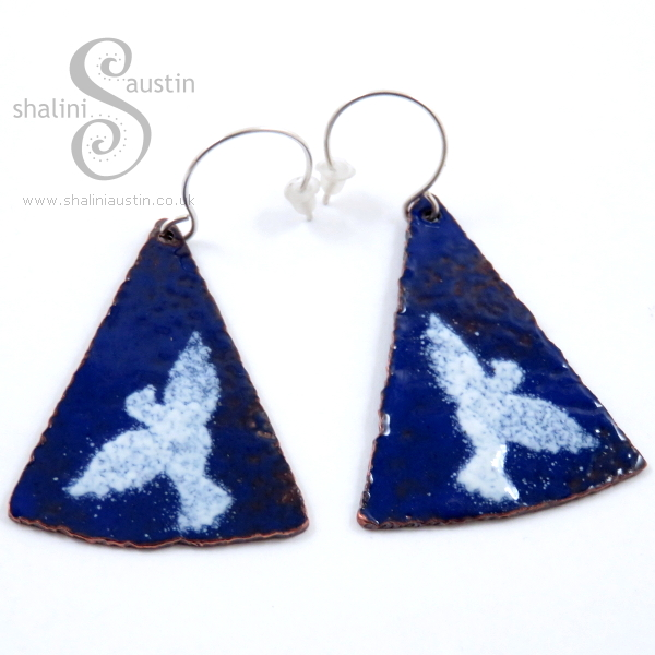 Enamelling Copper Part 2 - 'Doves' Enamelled Copper Earrings