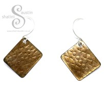 Embossed Enamelled Copper Earrings