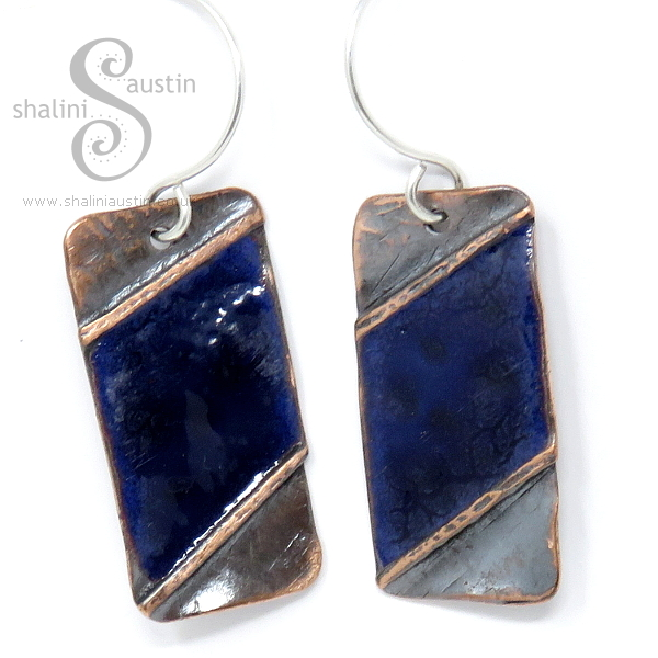 Blue Enamelled Copper Earrings
