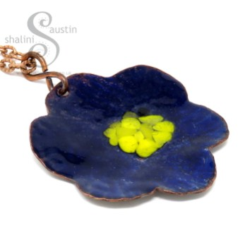 Copper Flower Pendants on shaliniaustin.co.uk