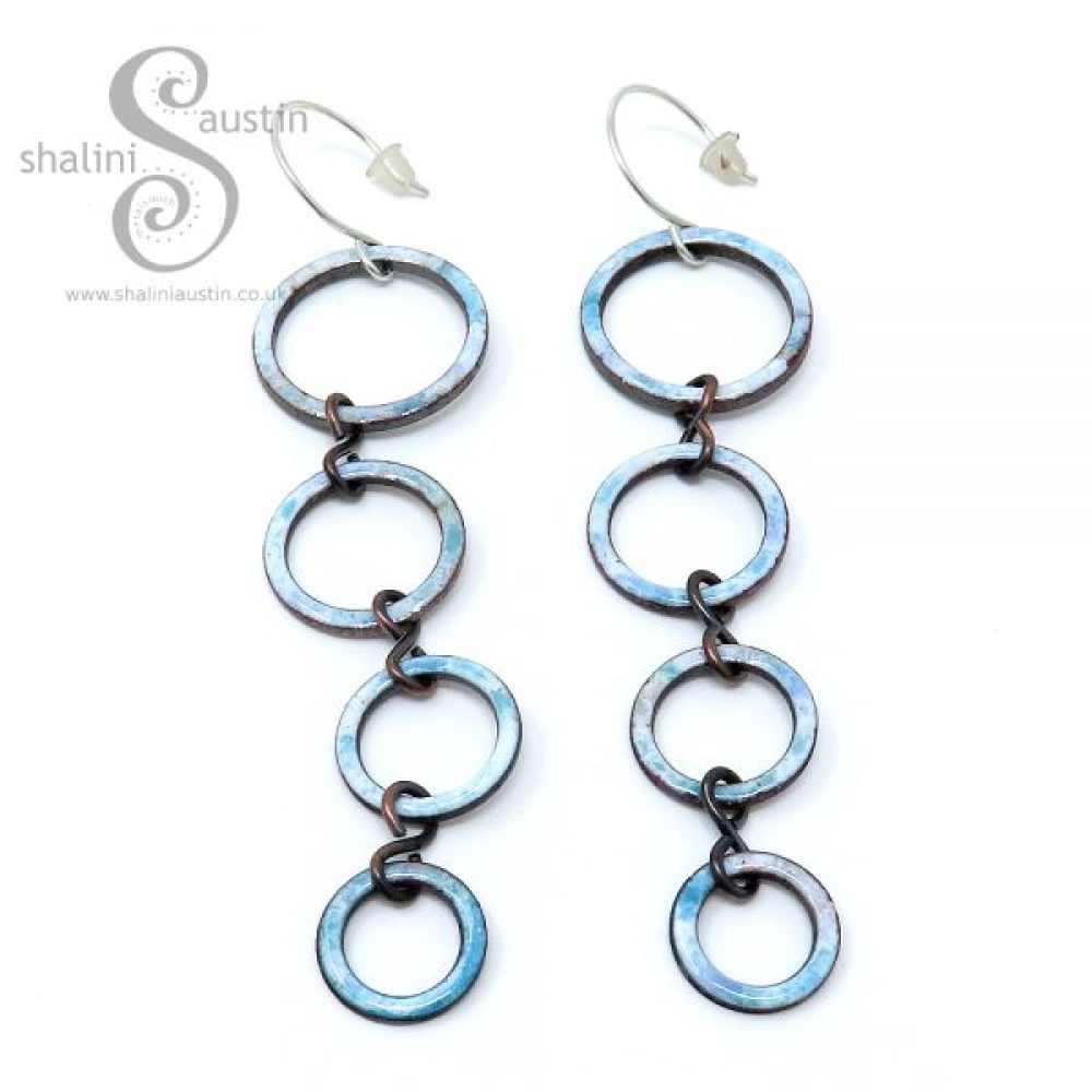Enamelled Copper Circle Earrings – White & Turquoise