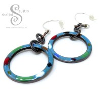 TUTTI FRUTTI Enamelled Copper Circle Earrings – Teal