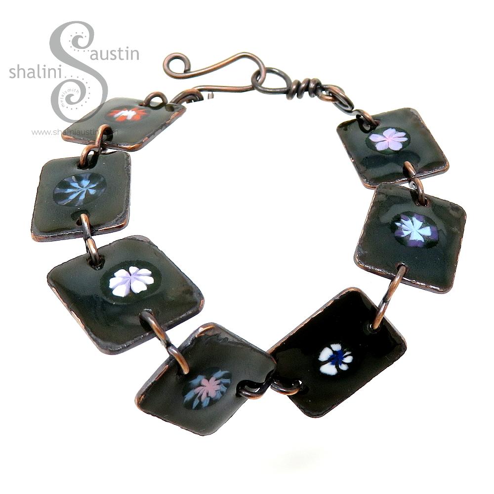 Enamelled Flowers Copper Bracelet – Dark Green
