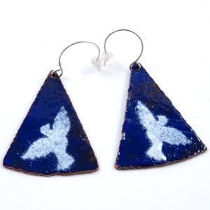 'Doves' Enamelled Copper Earrings