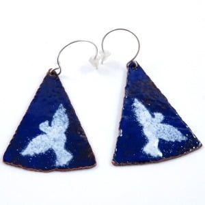 'Doves' Enamelled Copper Earrings
