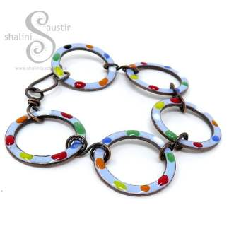 Enamelled Copper Circles Bracelet - Lavender Blue