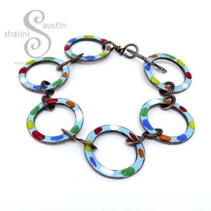 Enamelled Copper Bracelet TUTTI FRUTTI – Sky Blue