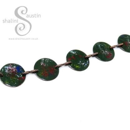 Enamelled Copper Disc Bracelet - Forest Green