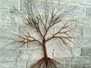 Handcrafted Outdoor Wire Tree Sculpture by Dave Austin