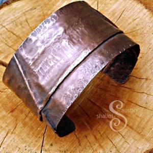 Fold-Formed Copper Cuff 03 - Antique Finish