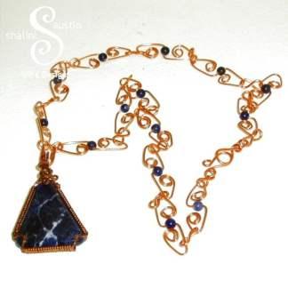 Sodalite & Copper Pendant
