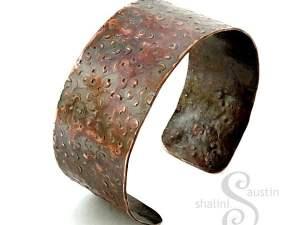 Hammered Wide Copper Cuff (17.5 cm)