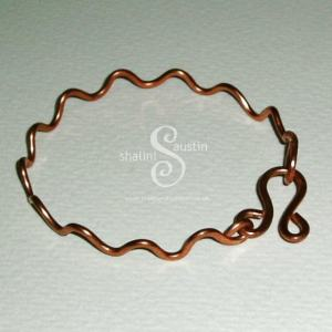 Waves Copper Bangle Bracelet