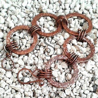 Antique Finish Copper Circles Bracelet DELPHINE