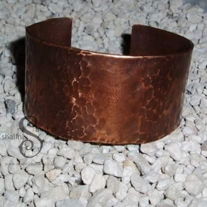 Unisex, Wide Hammered Copper Cuff Bracelet