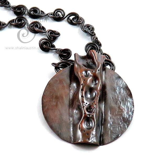 Antique Finish Rustic Copper Pendant on Handmade Chain