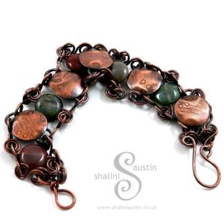 Indian Agate & Etched Copper Bracelet