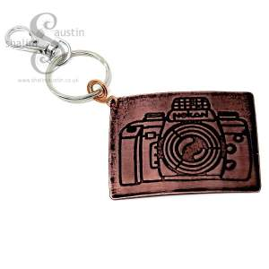 Embossed Copper Keyring CAMERA
