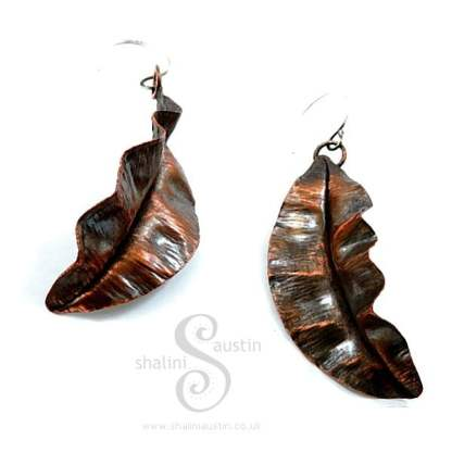 Copper Earrings: Fold Formed Leaf