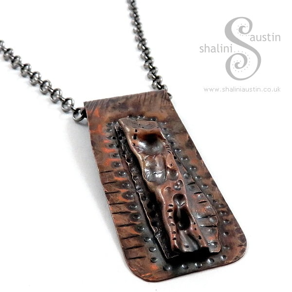 Antique Finish Air-chased Rustic Copper Pendant LUNAR 3