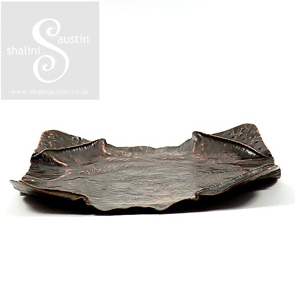 Copper Trinket Tray: Fold Formed Square Dish