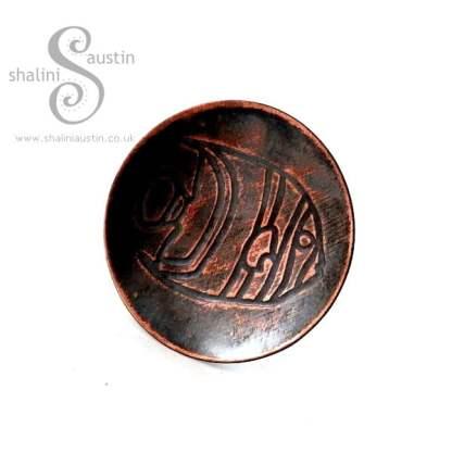 Antique Finish Embossed Copper Ring FISH