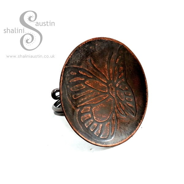 Handcrafted Embossed Copper Ring BUTTERFLY