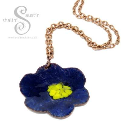 Copper Flower Pendant BLUE & YELLOW