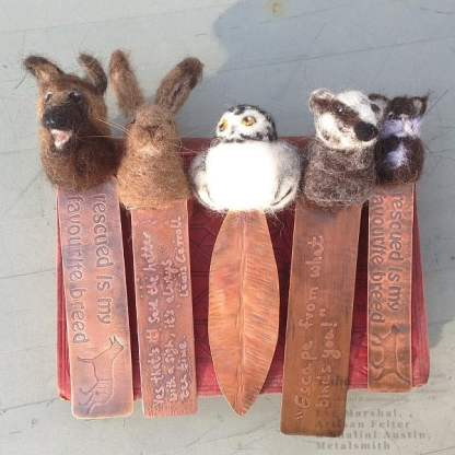 Felt and Copper Quotation Bookmarks by Esha, Made in Lincolnshire