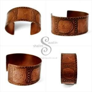 Sold: Wide Etched Copper Cuff 03