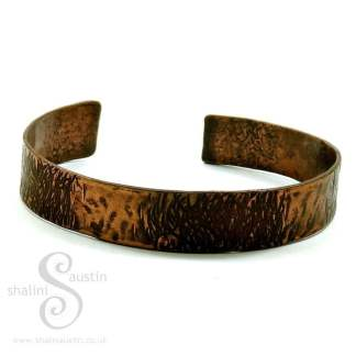 Narrow Hammered Copper Cuff - 17.2 cm