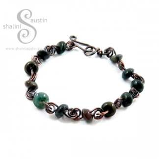 Indian Agate Disc Beads & Copper Wire Bracelet