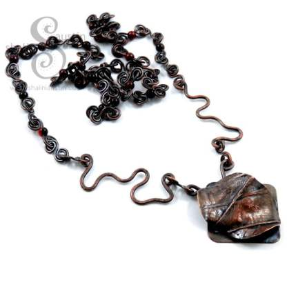 Rustic Copper Pendant with Beaded Necklace